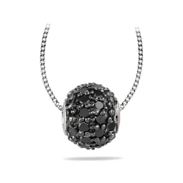 Pendant White Gold 18 Kt Diamonds Black