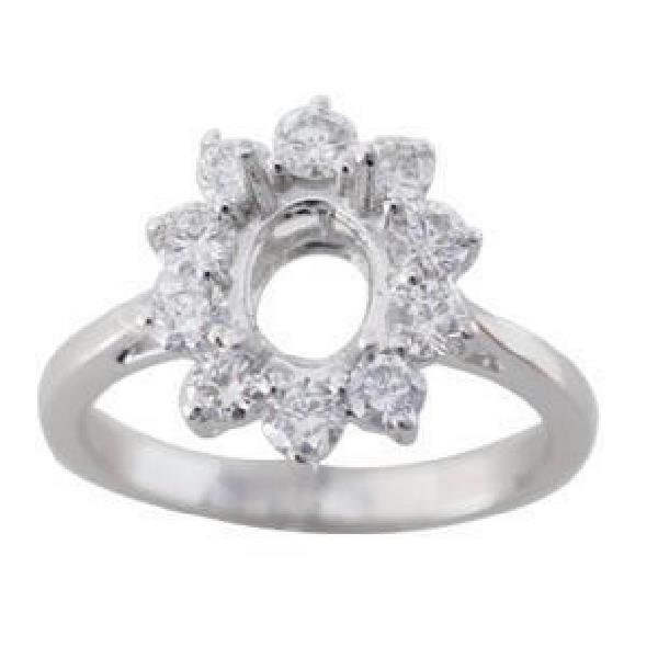18K White Gold Semi Mounting Diamond Ring