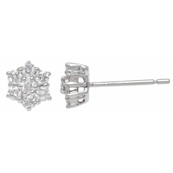 Diamond star Shape Designer Stud Earrings 18 K White Gold