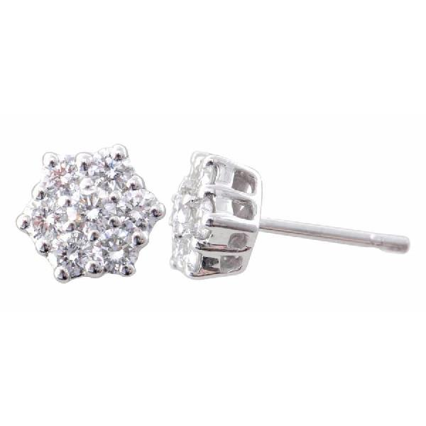 Diamond Star Shaped Stud Designer Earrings 18 K White Gold