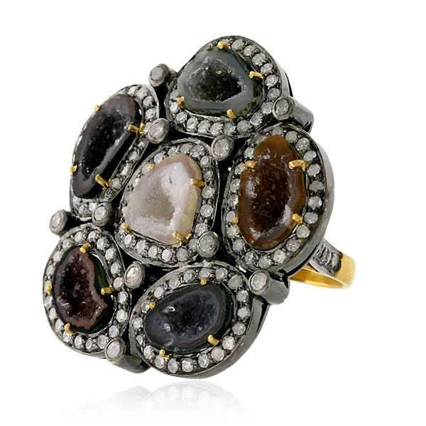 Ring Gold 18 Kt Diamonds Silver