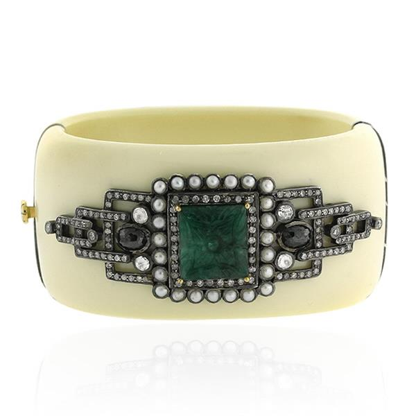 Bracelet Gold 18 Kt Diamond Silver Emerald