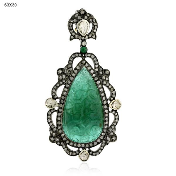 Pendant Gold 18 Kt Diamond Silver Emerald
