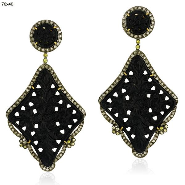 Earrings Gold 18 Kt Diamond Silver
