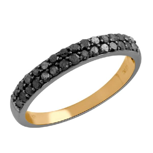 Ring in 18 Kt Rose Gold with Diamonds Black