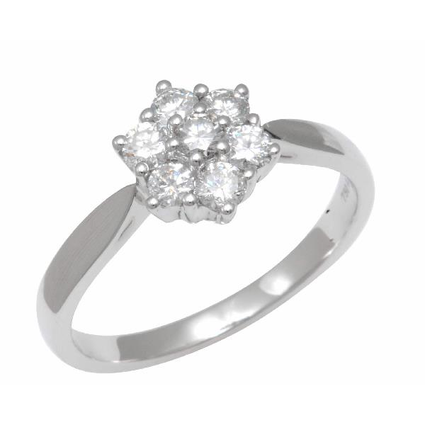 Diamond Flower Shaped Engagement Ring 18 K White Gold