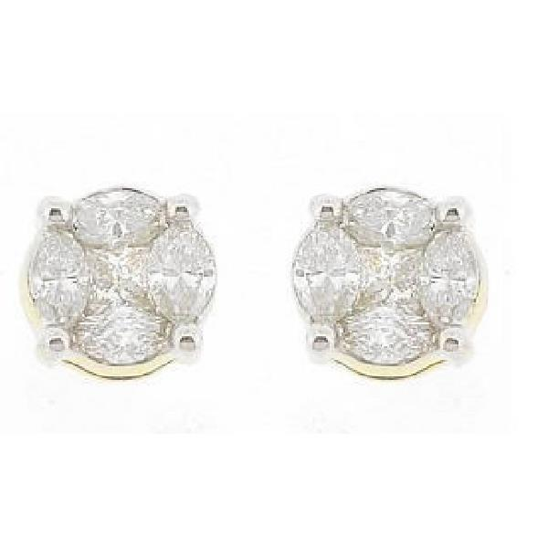 Earrings 18 Kt White Gold and Diamonds