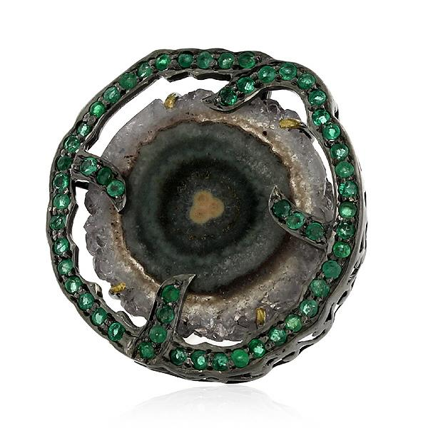 Ring Gold 18 Kt Silver Emerald
