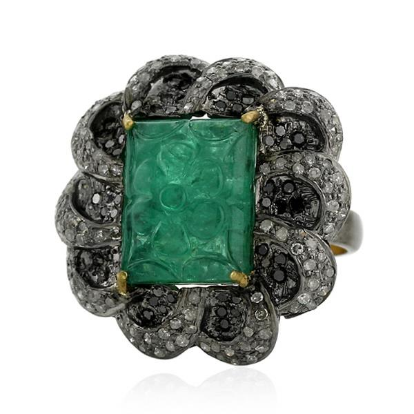 Ring Gold 18 Kt Silver Diamond Emerald
