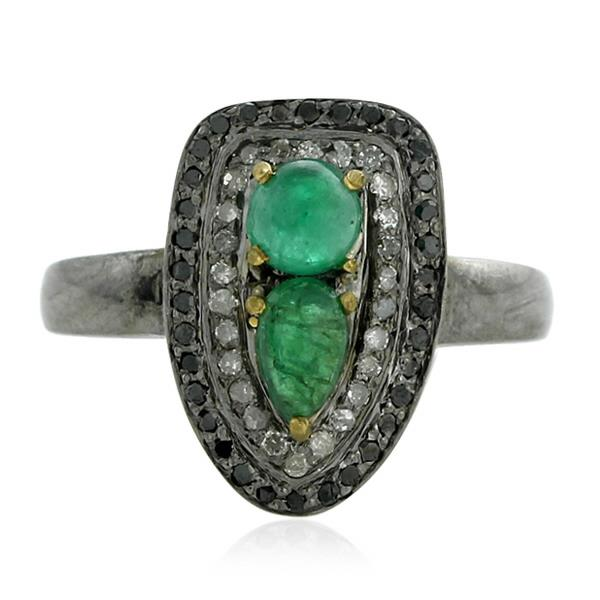 18 Kt Gold Silver Ring Emerald Diam