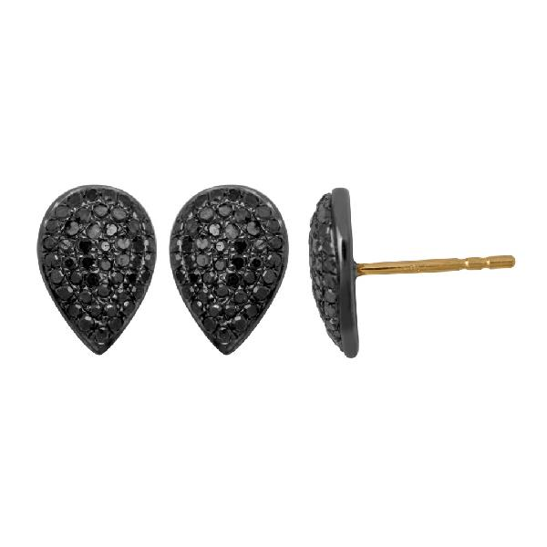Earrings in Yellow Gold 18 Kt with Silver and Diamond Black