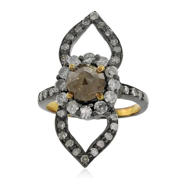 Ring Gold 18 Kt Silver Diamonds