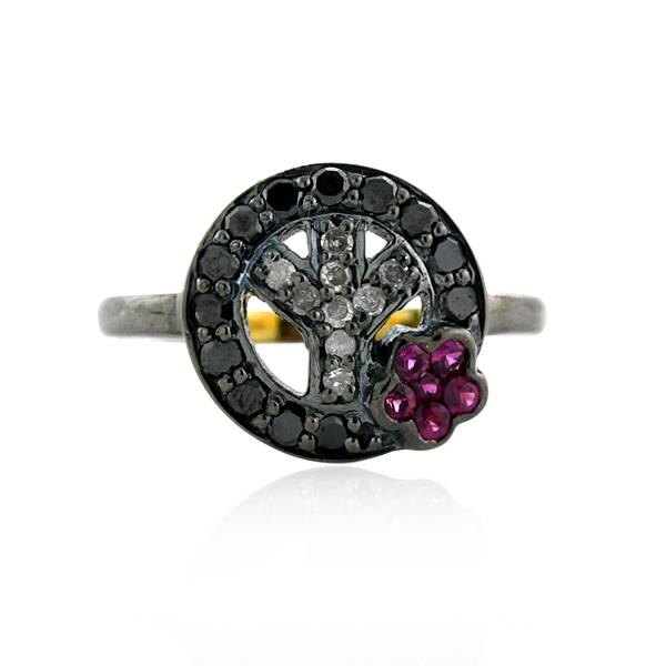 Ring Gold 18 Kt Silver Diamond Ruby