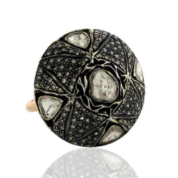 Ring Gold 14Kt Diamonds Silver