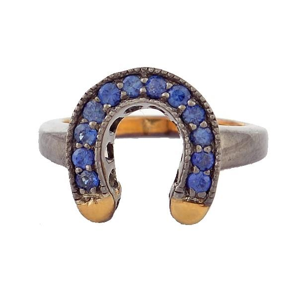 18 kt gold and silver Ring with sapphires