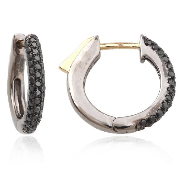 Earrings Yellow Gold 18 Kt with Silver & Black Diamonds