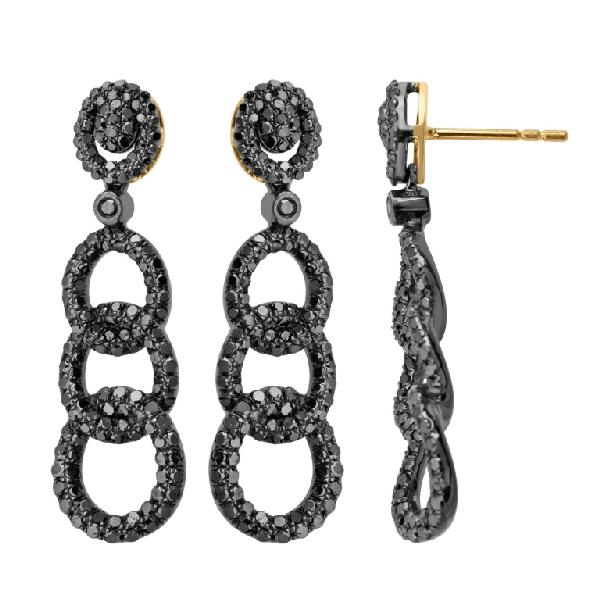 18Kt yellow gold and silver earrings with black diamonds.
