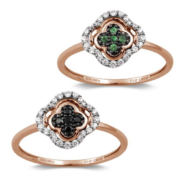 Ring in 18 Kt Rose Gold with Diamonds Black and White Tsavorite