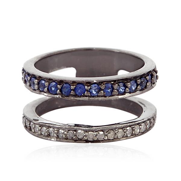 Ring in silver with diamonds and sapphires.