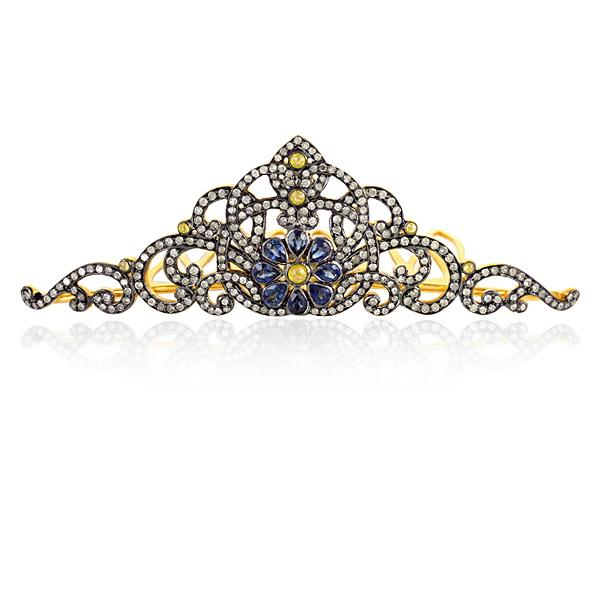 Crown in silver with Diamonds & Sapphire