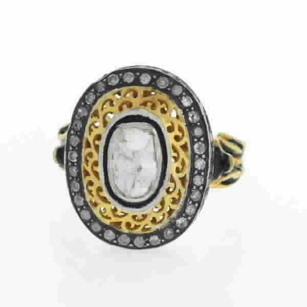 Ring Gold 14 Kt Diamonds Silver