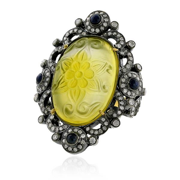 Ring Gold 18 kt Diamond Silver Zaf