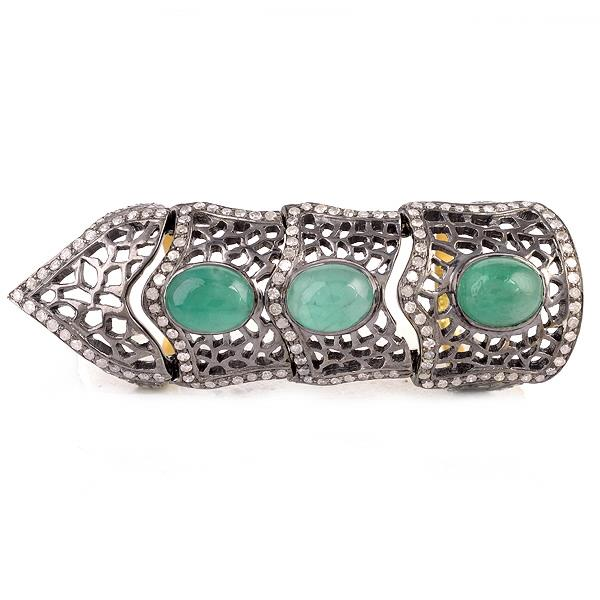 Ring in 18 Kt gold with Silver, Diamonds & Emeralds