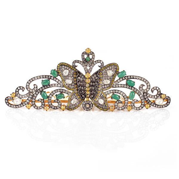 Crown in Silver with Diamonds & Emeralds