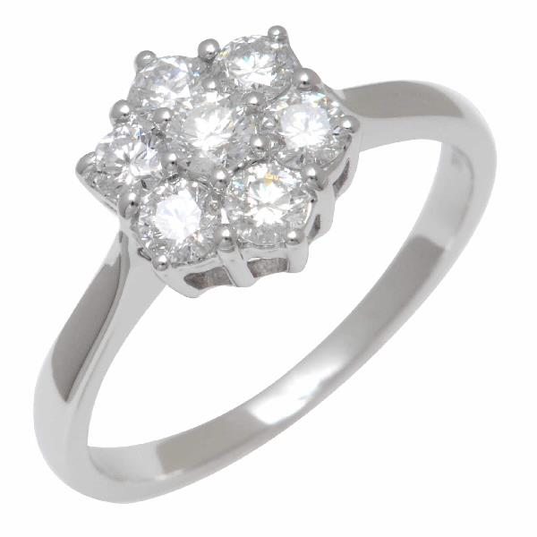 Diamond Flower shaped Engagement Ring 18K White Gold