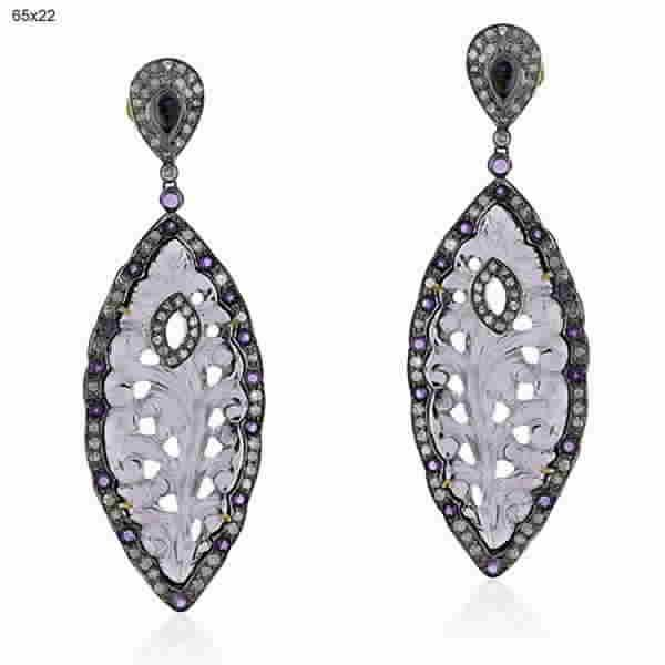 Earrings Gold 18Kt Diamonds Silver