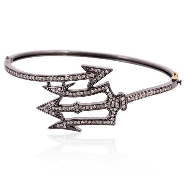 Bangle in 6 Kt Gold with Diamonds and Silver