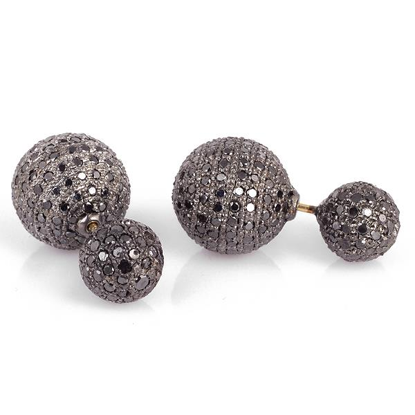 Earrings in 18 Kt Gold with Silver and Diamonds