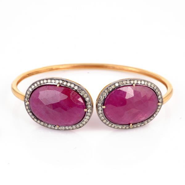 Bangle in 14 Kt Gold with silver, Diamonds & Ruby
