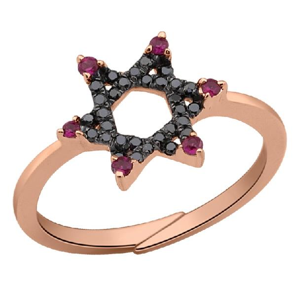 Ring in 18 Kt rose gold with black diamonds and Ruby