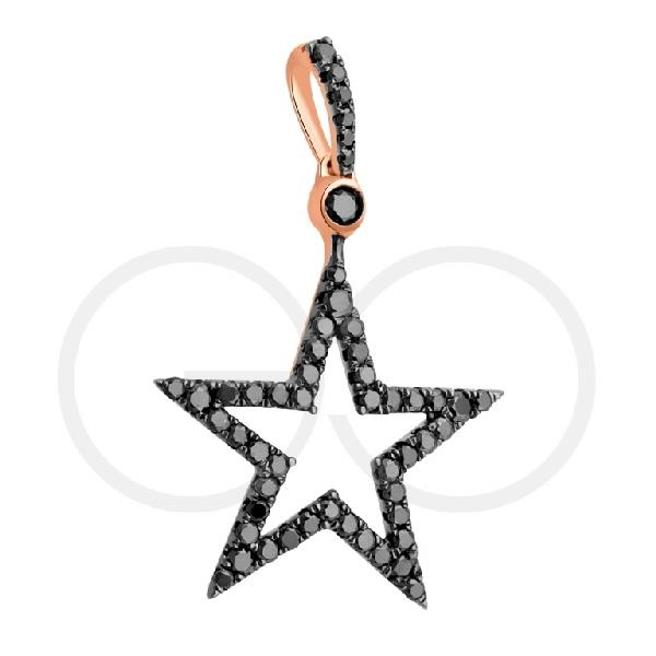 Pendant in 18 Kt rose gold with black diamonds