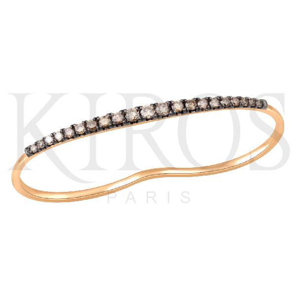 18 Kt Rose gold Ring Brown Diamonds