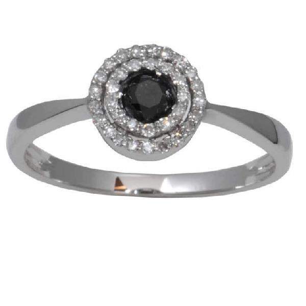 18 Kt White gold Ring Black and White Diamonds