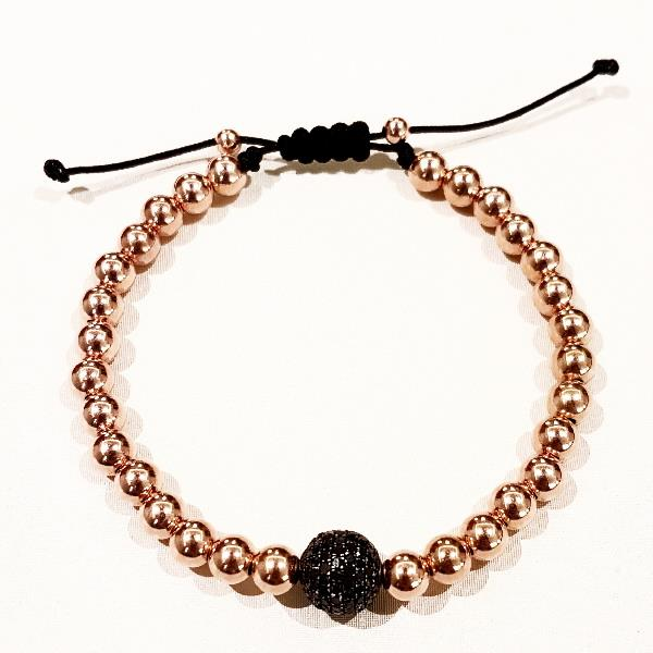 Pulsera Plata Diamantes Black 10mm