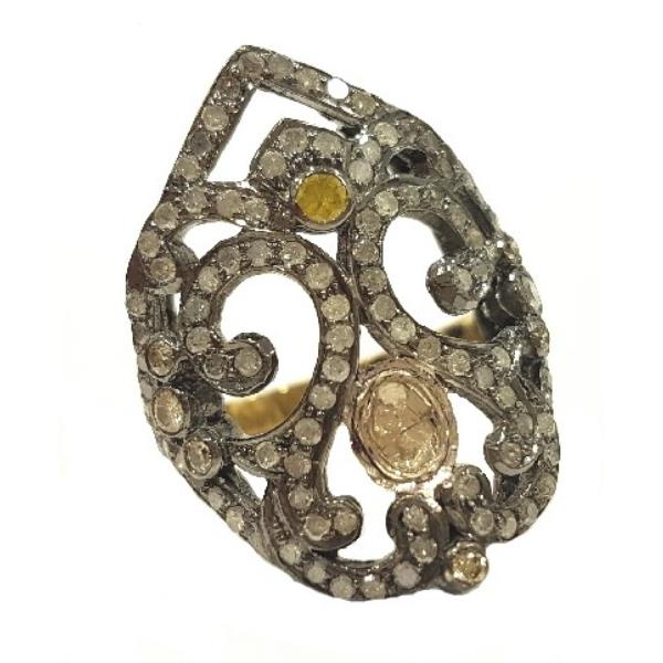Ring in 18 Kt Gold with silver & Diamonds