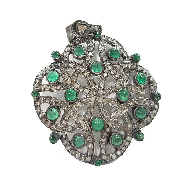Pendant in 18 Kt Gold with silver, Diamonds and Emeralds