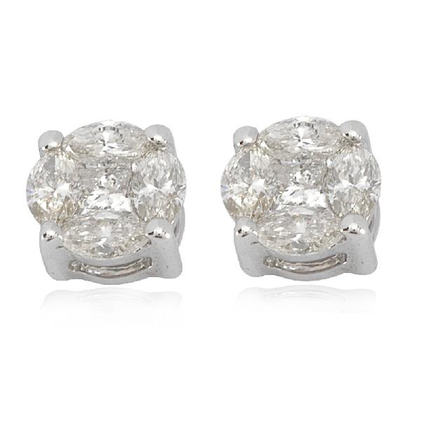 Earrings in 18 Kt white gold with diamonds
