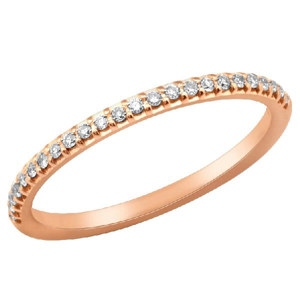 Ring 18 Kt Rose Gold White Diamonds