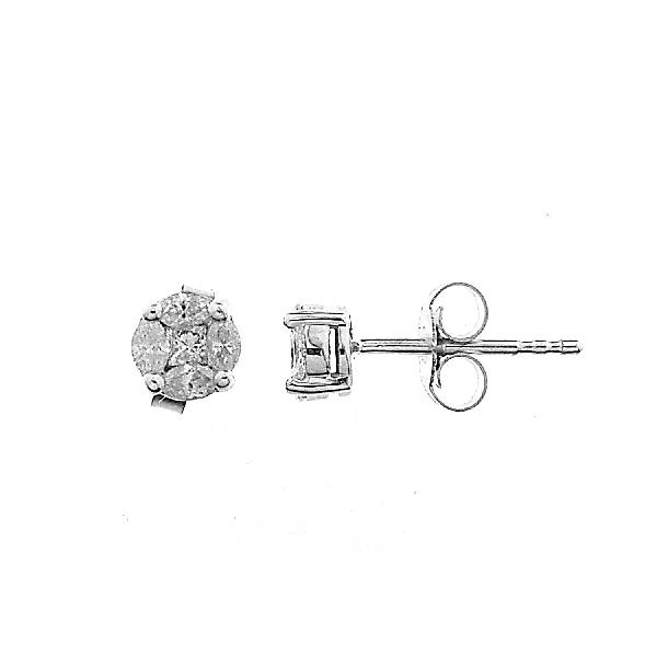 Earrings in 18 Kt White Gold and Diam