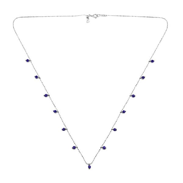 Necklace 18 Kt White Gold Blue Sapphires