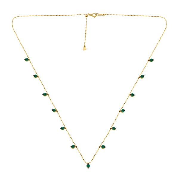 Necklace 18 Kt Yellow Gold Emerald