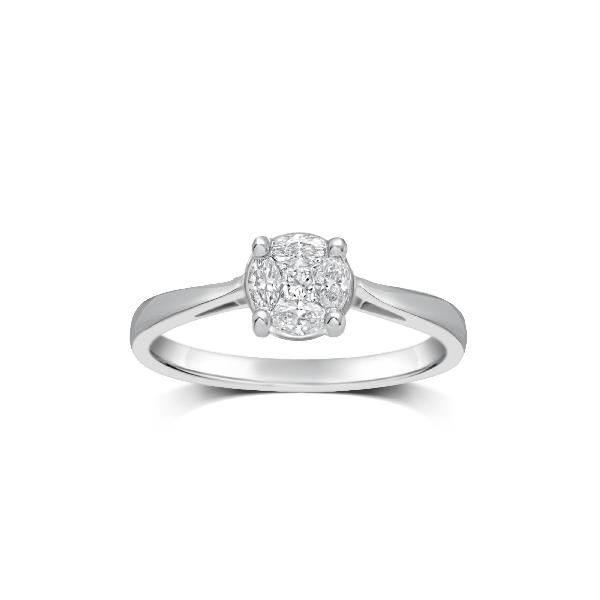Ring in 18 Kt White Gold and Diam
