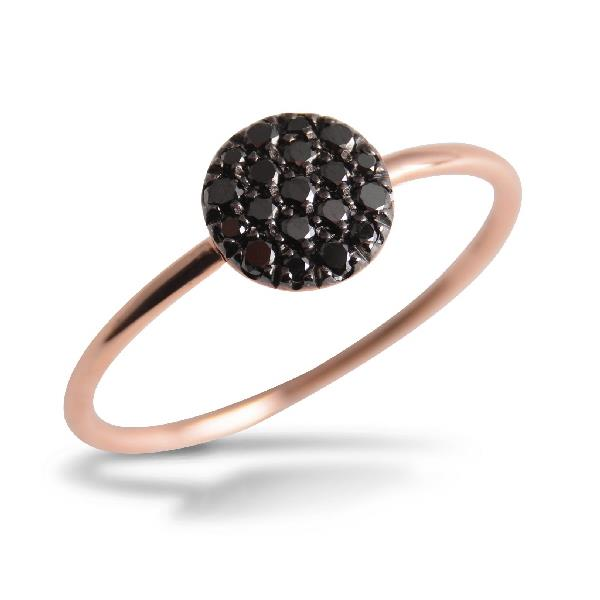 Ring in 18 Kt rose gold with black diamonds