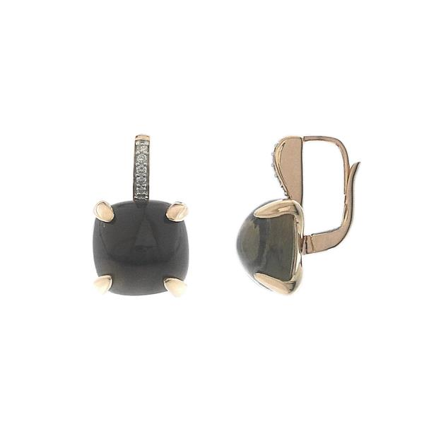 Earrings in 18 Kt Rose gold with diamonds & Smoky