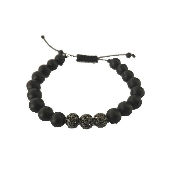 Pulsera Plata Diamante Black Onix