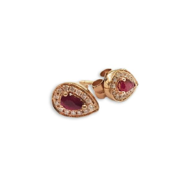 Earrings in 18 Kt Rose gold with diamonds & Ruby
